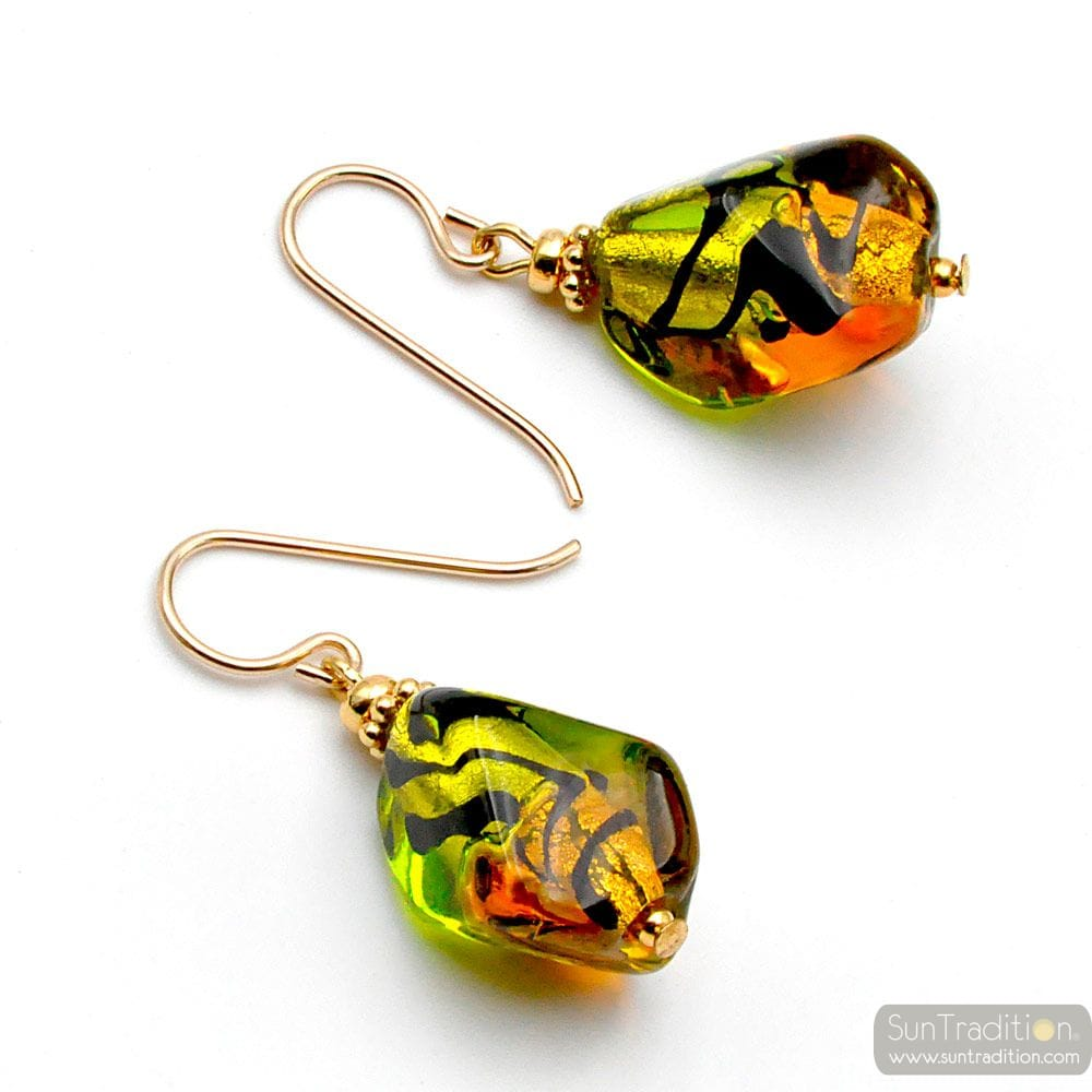 SASSO BICOLOR GREEN AND AMBER - GREEN AMBER MURANO GLASS EARRINGS