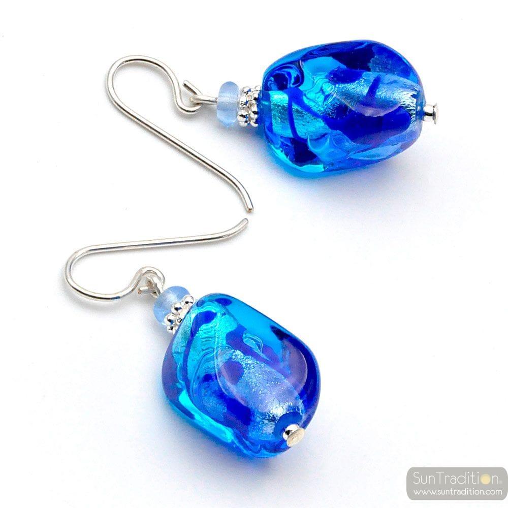 SASSO TWEE TOON BLUE - OORBELLEN BLAUW MURANO GLAS