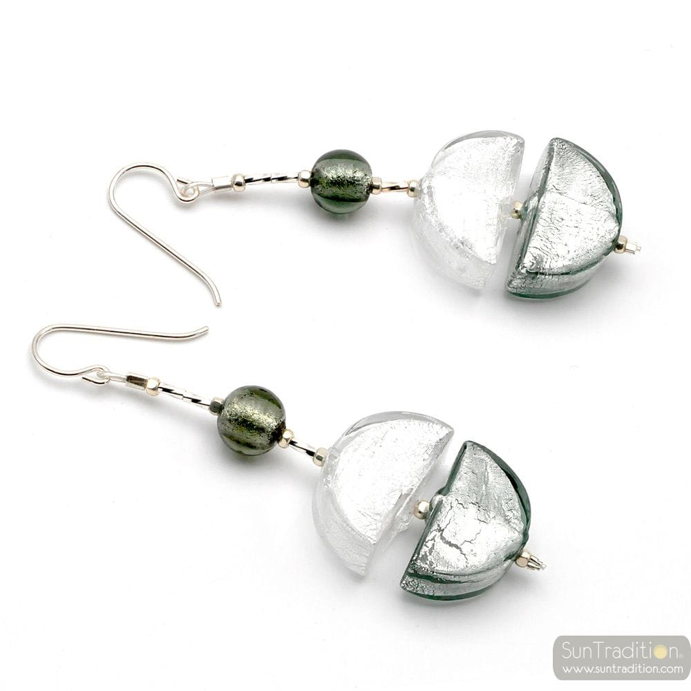 SILVER MURANO GLASS DROP EARRINGS