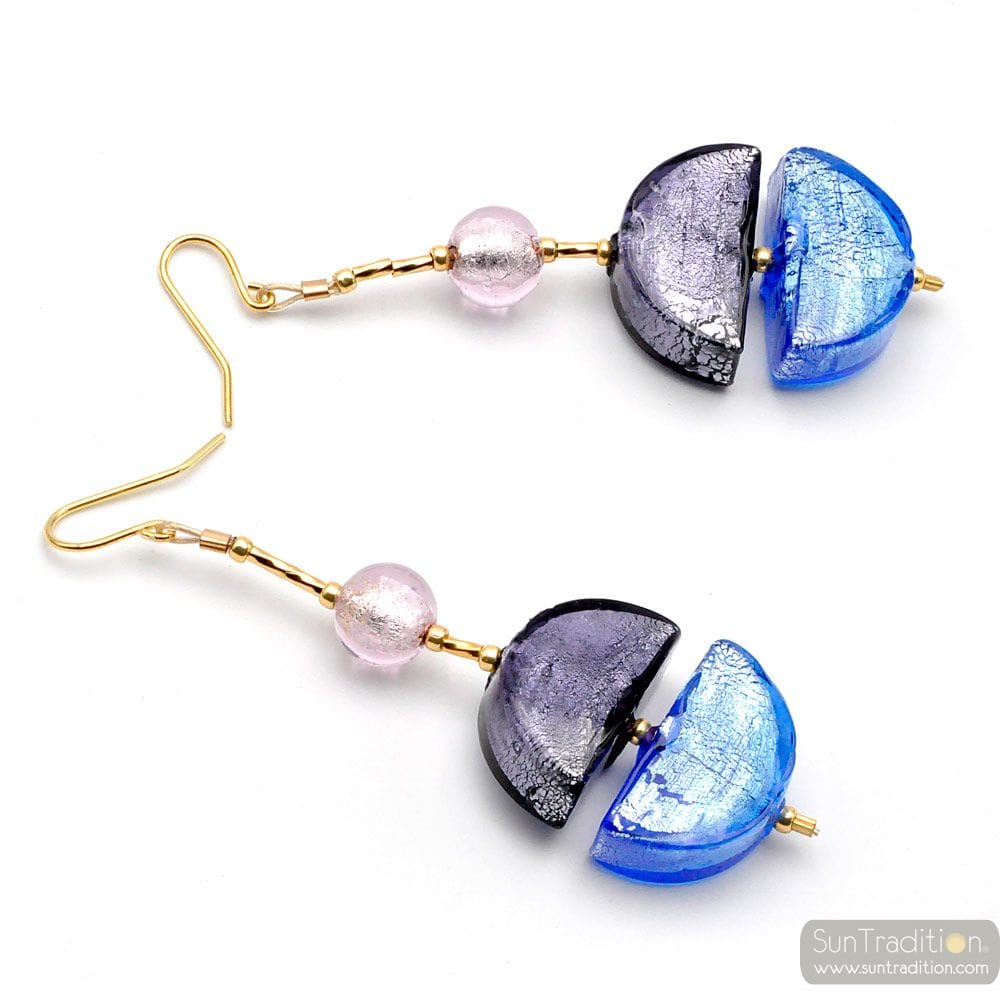 BLUE MURANO GLASS DROP EARRINGS