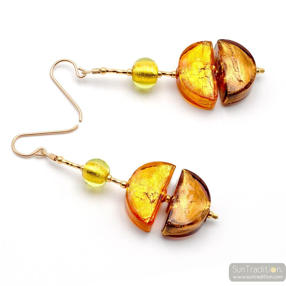 COLORADO GOLD - DROP MURANO GLASS EARRINGS GENUINE MURANO GLASS VENICE
