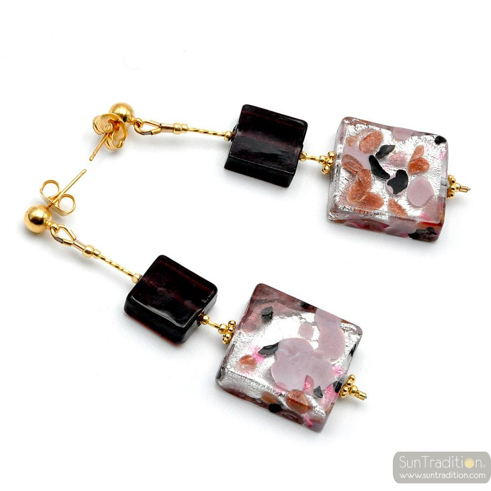 CORIANDOLO PARMA - PARMA MURANO GLASS DROP EARRINGS GENUINE VENICE MURANO GLASS