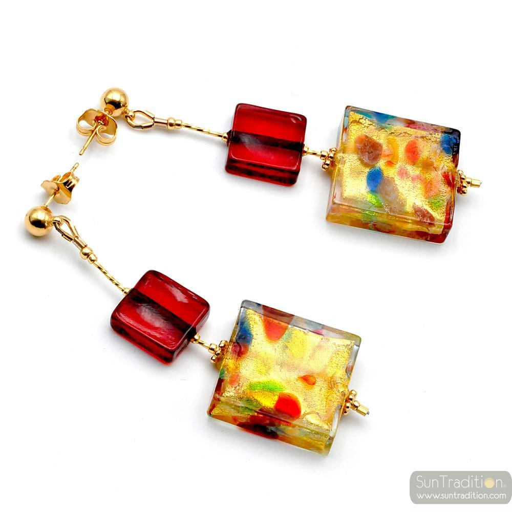 CORIANDOLO RED - RED MURANO GLASS DROP EARRINGS GENUINE VENICE MURANO GLASS