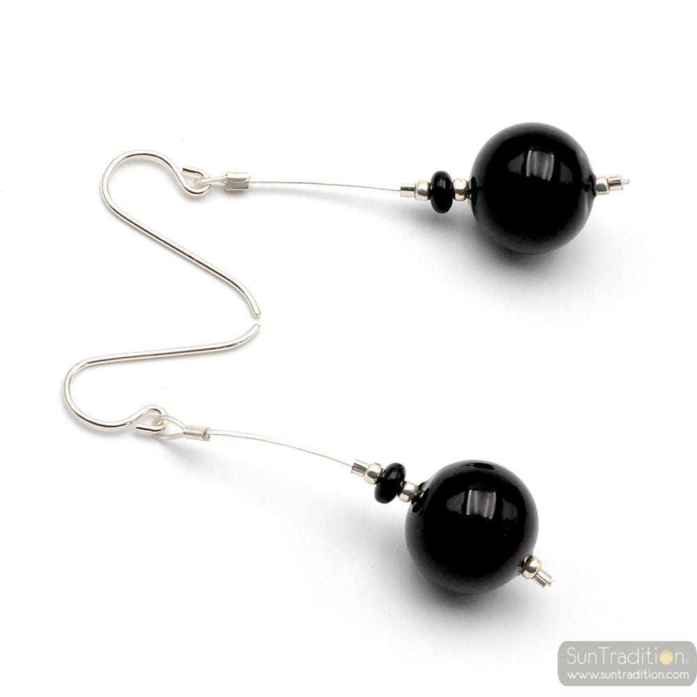 BLACK MURANO GLASS DROP EARRINGS