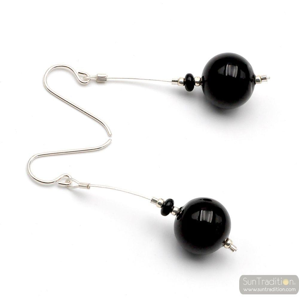 BLACK MURANO GLASS DROP EARRINGS