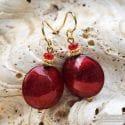 PASTIGLIA RED EARRINGS GENUINE VENICE MURANO GLASS