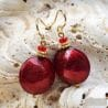 RED GENUINE MURANO GLASS EARRINGS
