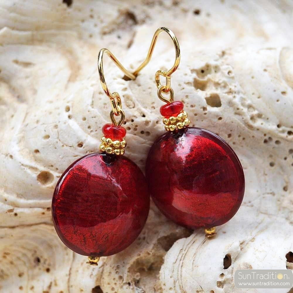 PASTIGLIA RED - RED MURANO GLASS EARRINGS GENUINE VENICE GLASS