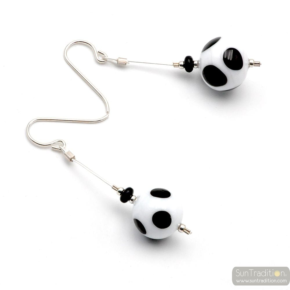 CAMPIONE PEAS WHITE BLACK - WHITE AND BLACK PEAS MURANO GLASS DROP EARRINGS GENUINE MURANO GLASS