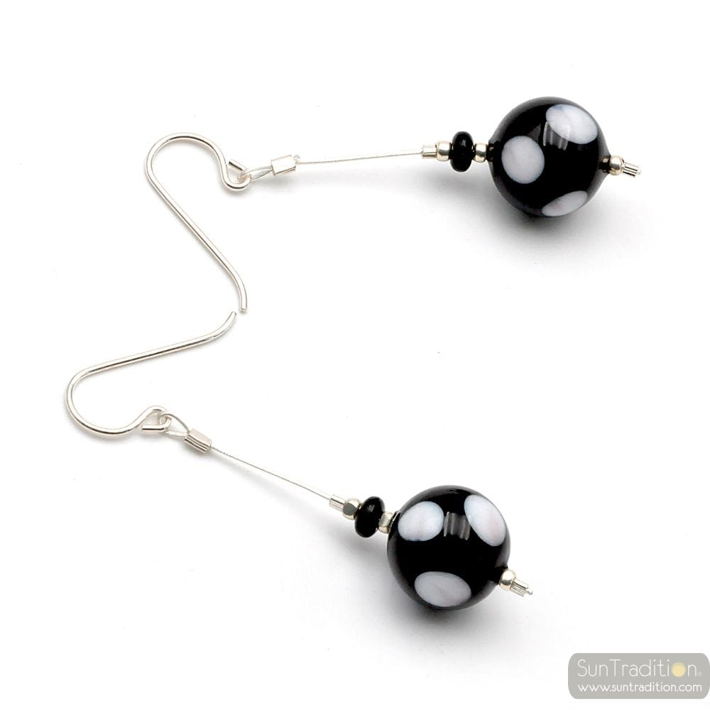 CAMPIONE PEAS BLACK WHITE - BLACK AND WHITE MURANO GLASS DROP EARRINGS GENUINE MURANO GLASS