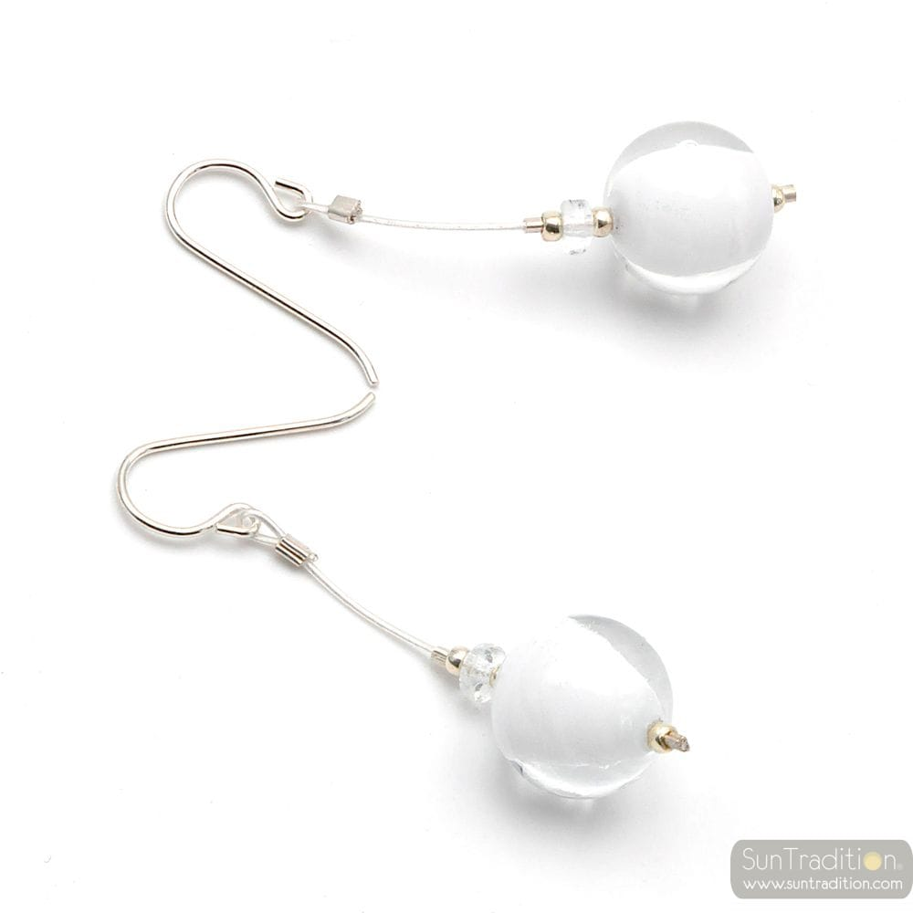 CAMPIONE WHITE - WHITE MURANO GLASS DROP EARRINGS GENUINE