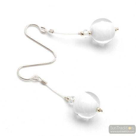 WHITE MURANO GLASS DROP EARRINGS