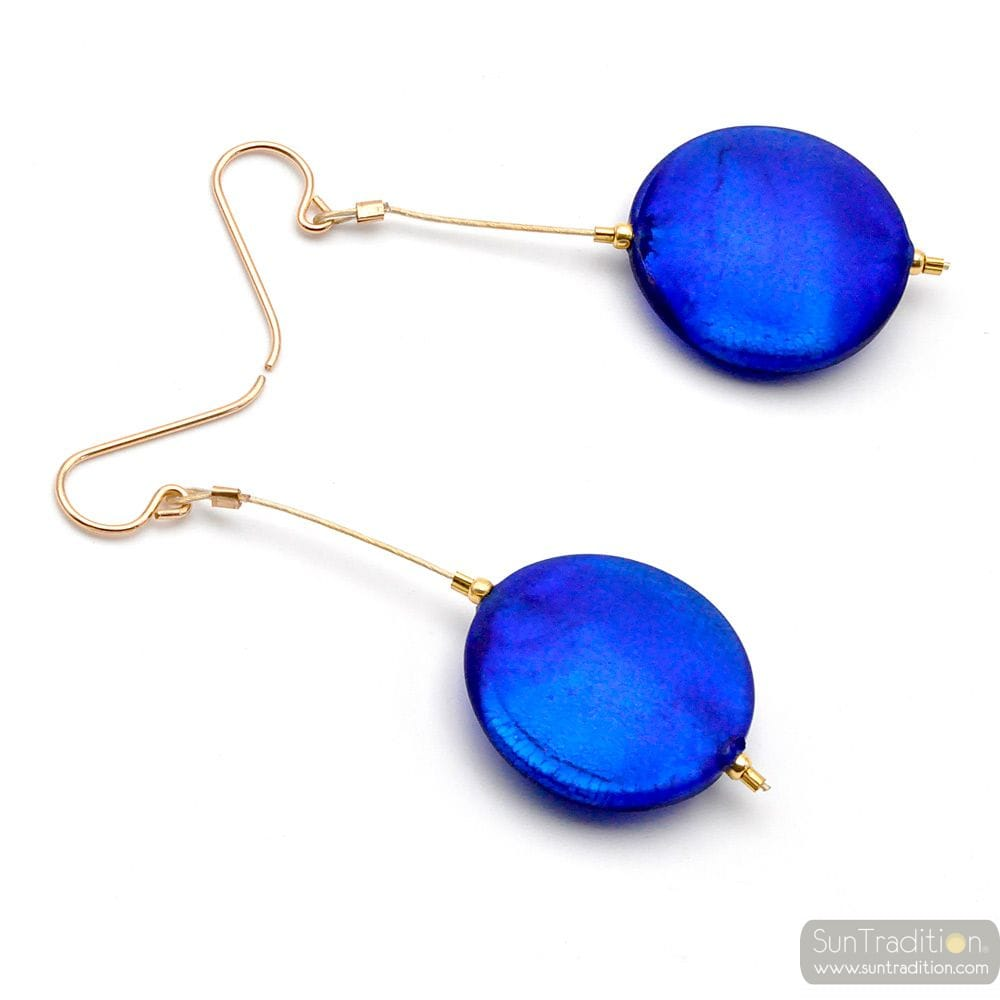 FRANCY BLUE SATIN - BLUE MURANO GLASS DROP EARRINGS GENUINE VENICE GLASS