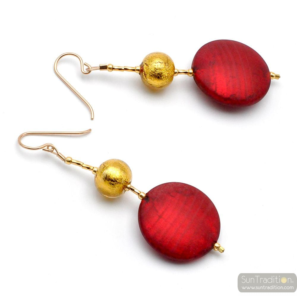 FRANCY RED SATIN - RED MURANO GLASS DROP EARRINGS GENUINE VENICE GLASS