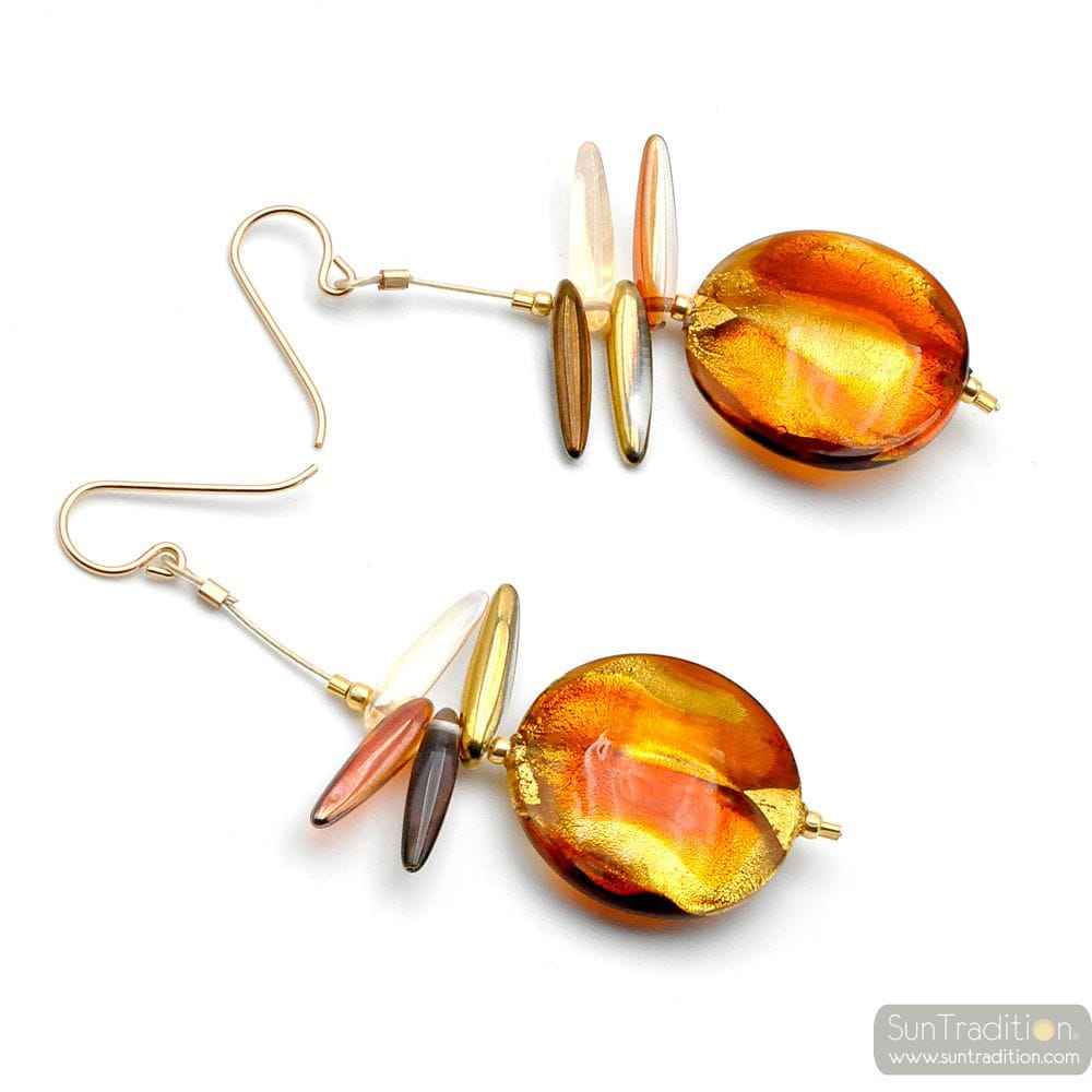 AMBER MURANO GLASS DROP EARRINGS