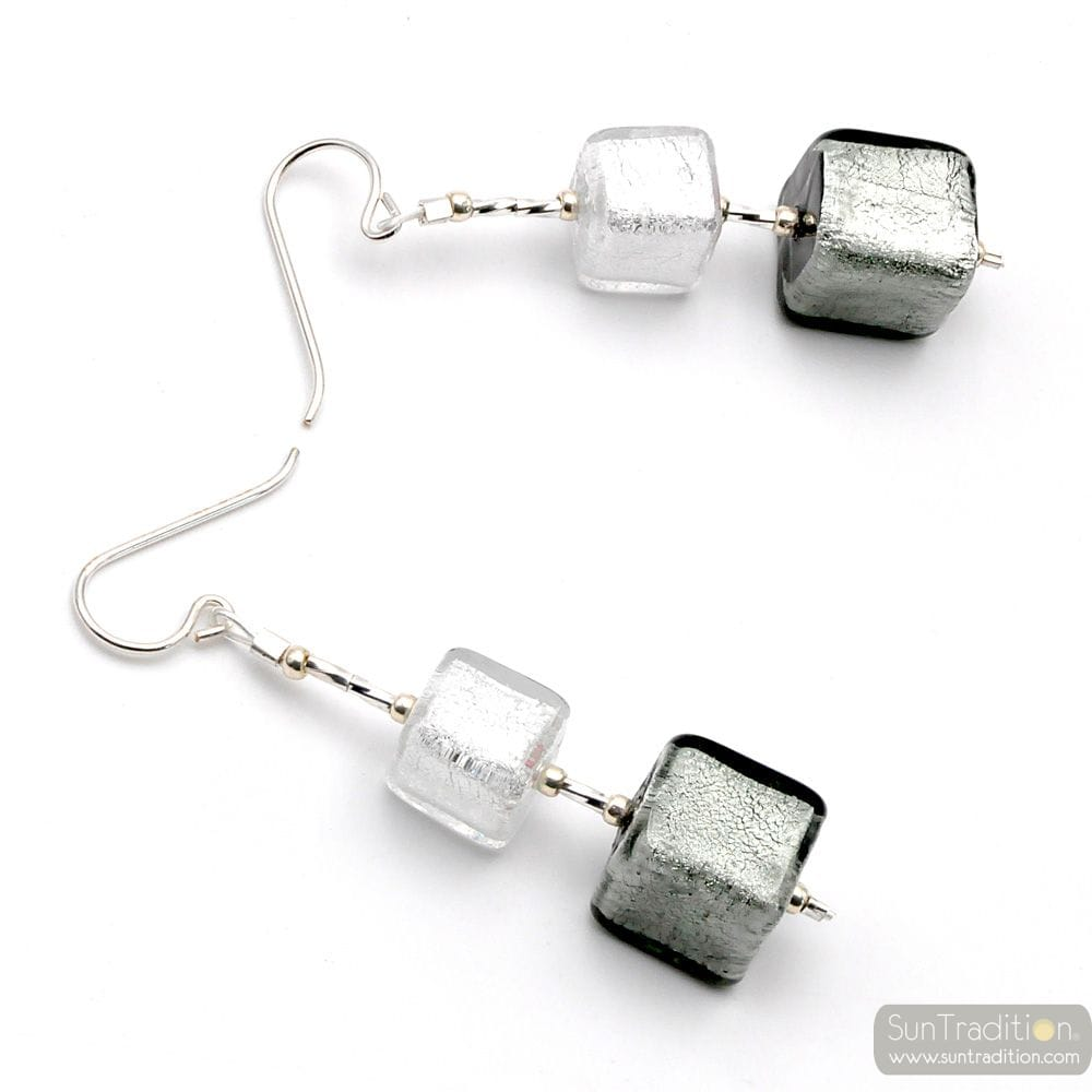 SILVER CUBES MURANO GLASS DROP EARRINGS VENICE