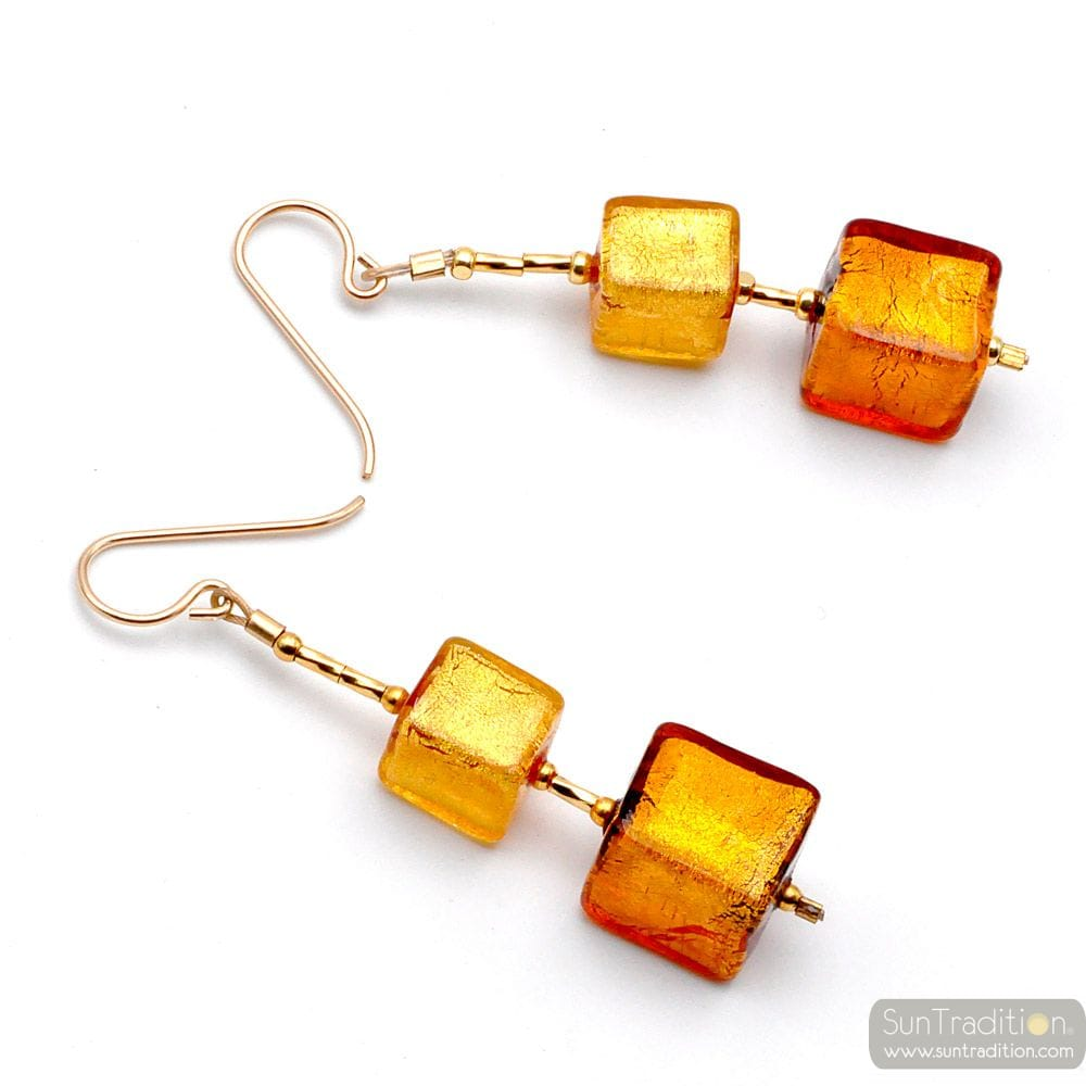GOLD CUBES MURANO GLASS DROP EARRINGS
