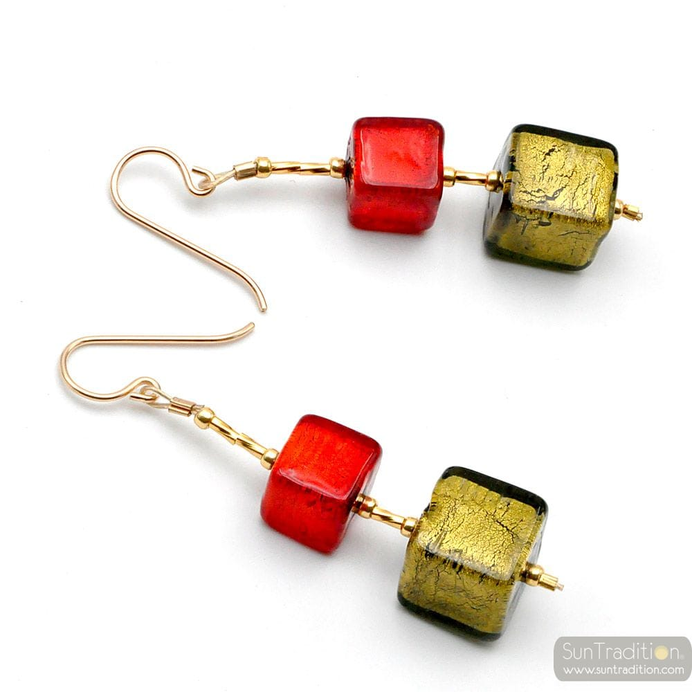 GRADIANT RED AND GREEN CUBES - RED AND GREEN MURANO GLASS DROP EARRINGS VENICE