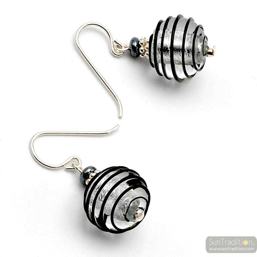 JOJO BLACK AND SILVER - BLACK AND SILVER MURANO GLASS EARRINGS GENUINE VENITIAN GLASS