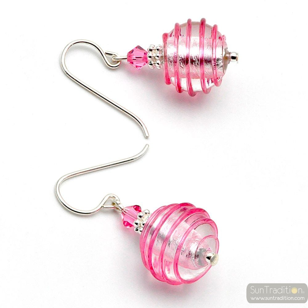 JOJO PINK AND SILVER - PINK AND SILVER MURANO GLASS EARRINGS GENUINE VENITIAN GLASS