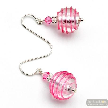 PINK AND SILVER MURANO GLASS EARRINGS