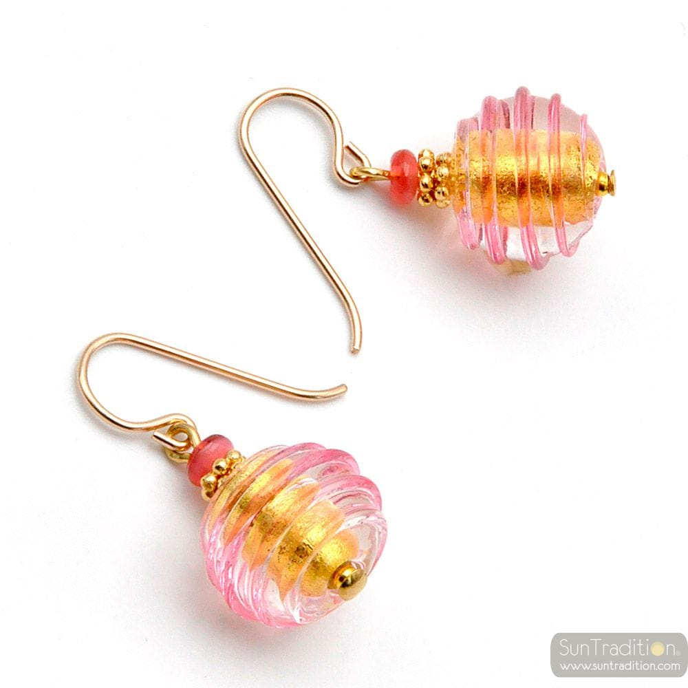 JOJO PINK AND GOLD - PINK AND GOLD MURANO GLASS EARRINGS GENUINE VENITIAN GLASS