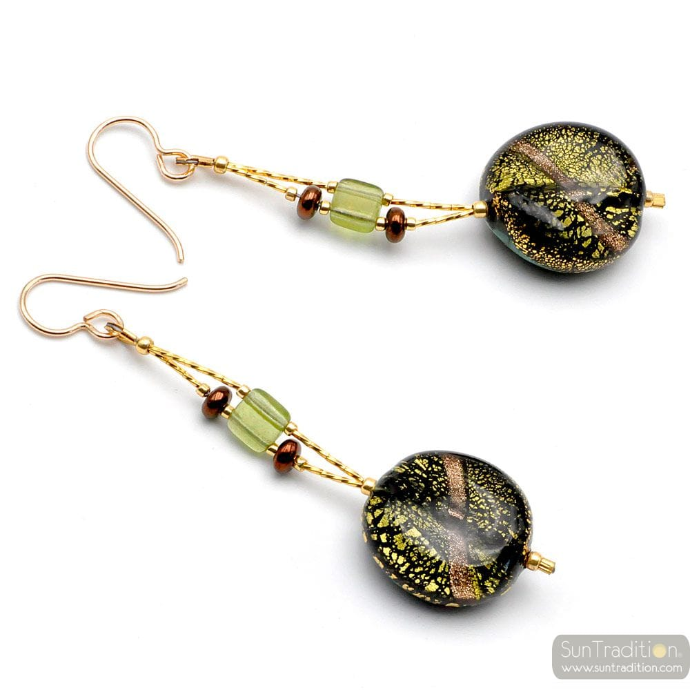 DOPPIO FILO GEMMA - GREEN MURANO GLASS DROP EARRINGS FROM VENICE