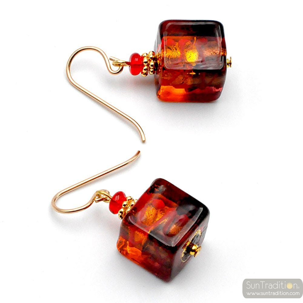 CUBE BICOLOR RED - RED AND AMBER MURANO GLASS EARRINGS CUBE BICOLOR