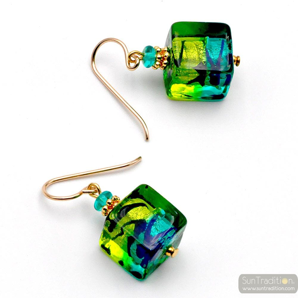 CUBE BICOLOR GREEN - GREEN AND BLUE MURANO GLASS EARRINGS CUBE BICOLOR
