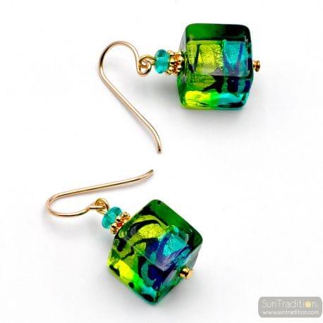GREEN AND BLUE MURANO GLASS EARRINGS