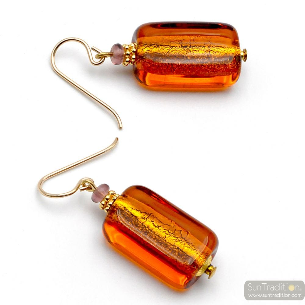 AMBER MURANO GLASS EARRINGS VENICE