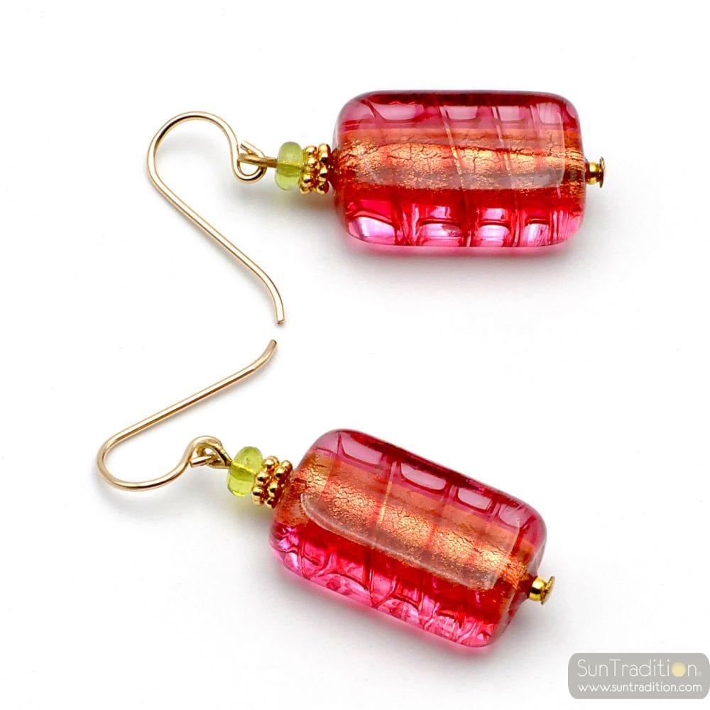 STRAWBERRY MURANO GLASS EARRINGS