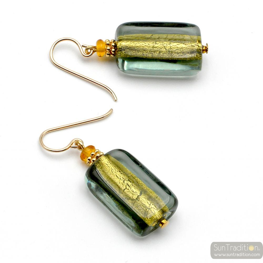 4 SEASONS GREY - GREY GREEN MURANO GLASS EARRINGS GENUINE VENITIAN GLASS