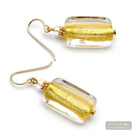 GOLD EARRINGS GENUINE MURANO GLASS VENICE