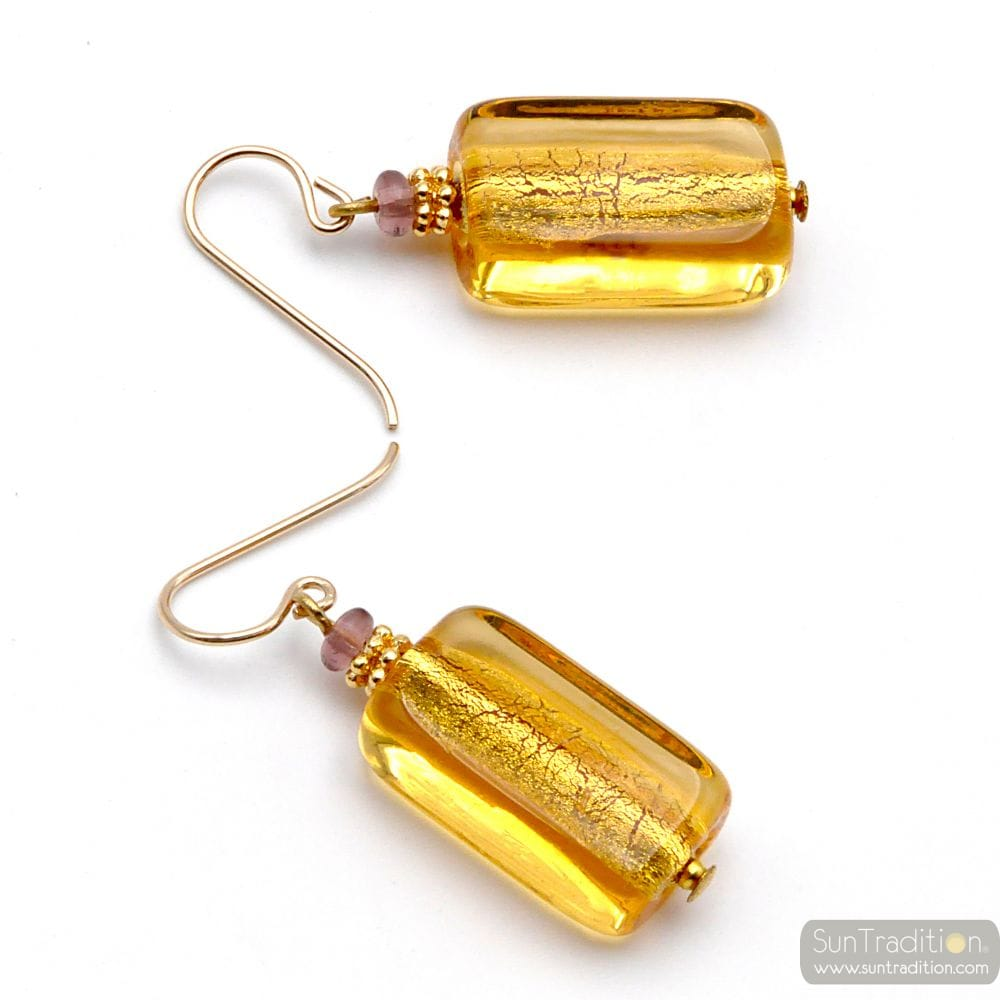 GOLD AMBER EARRINGS GENUINE MURANO GLASS VENICE