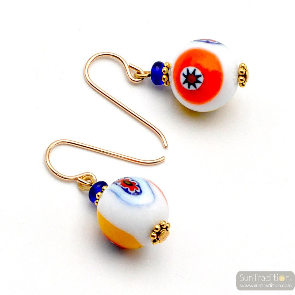 WHITE MURRINE MILLEFIORI EARRINGS MURANO GLASS OF VENICE