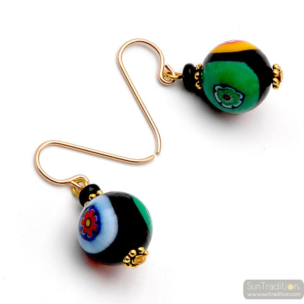 BALL MURRINA BLACK - MURRINA MILLEFIORI BLACK EARRINGS JEWELRY GENUINE MURANO GLASS OF VENICE