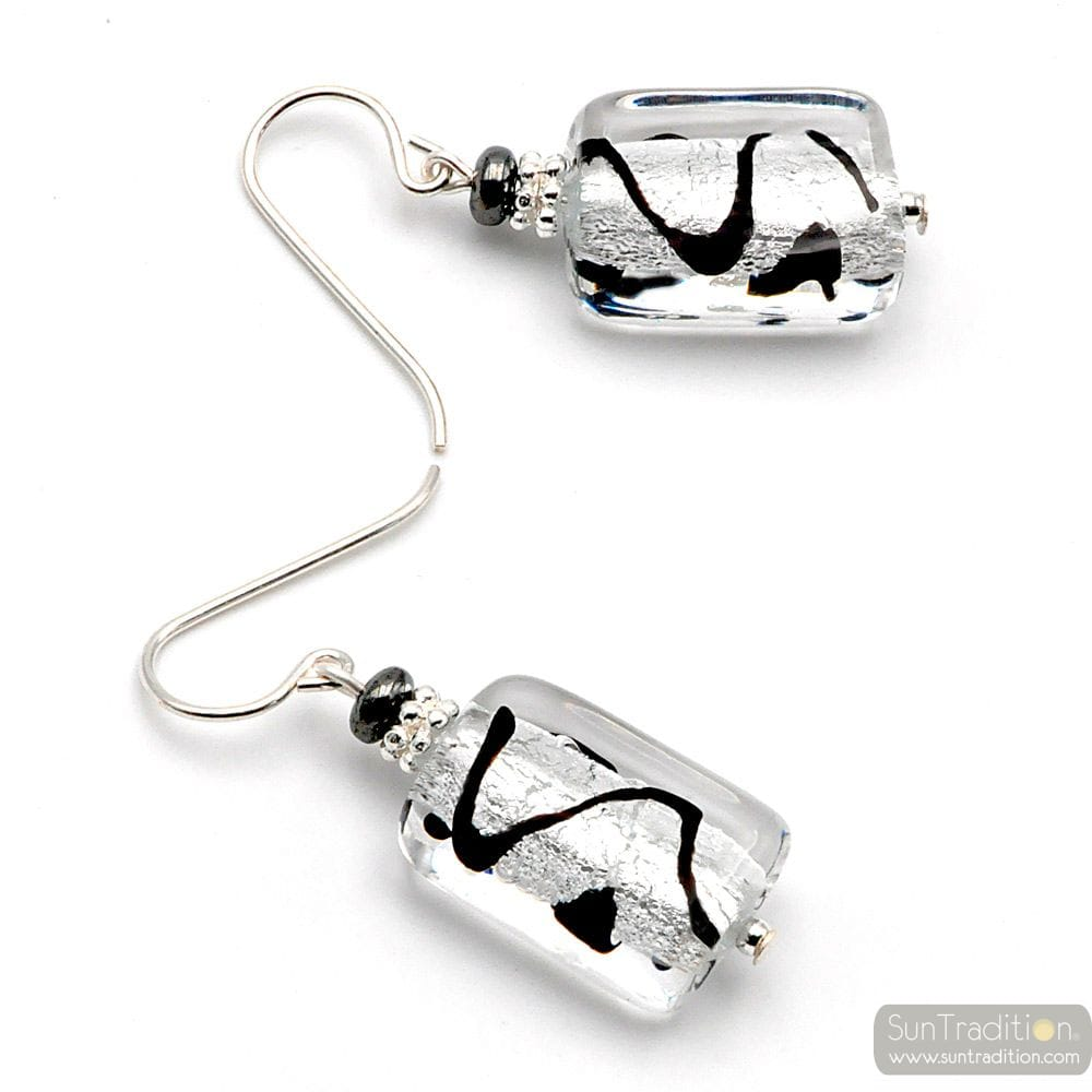 BLACK AND SILVER GENUINE MURANO GLASS EARRINGS