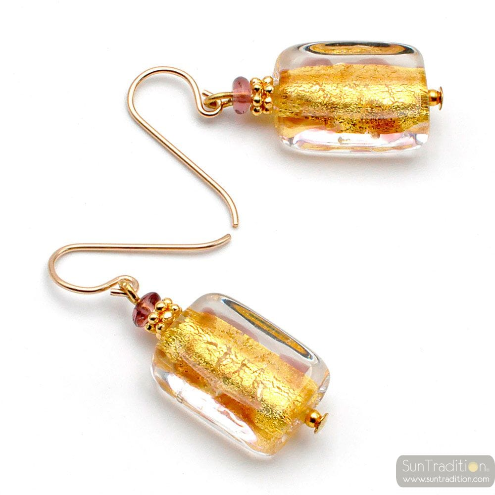 CHOCOLATE AND GOLD GENUINE MURANO GLASS EARRINGS