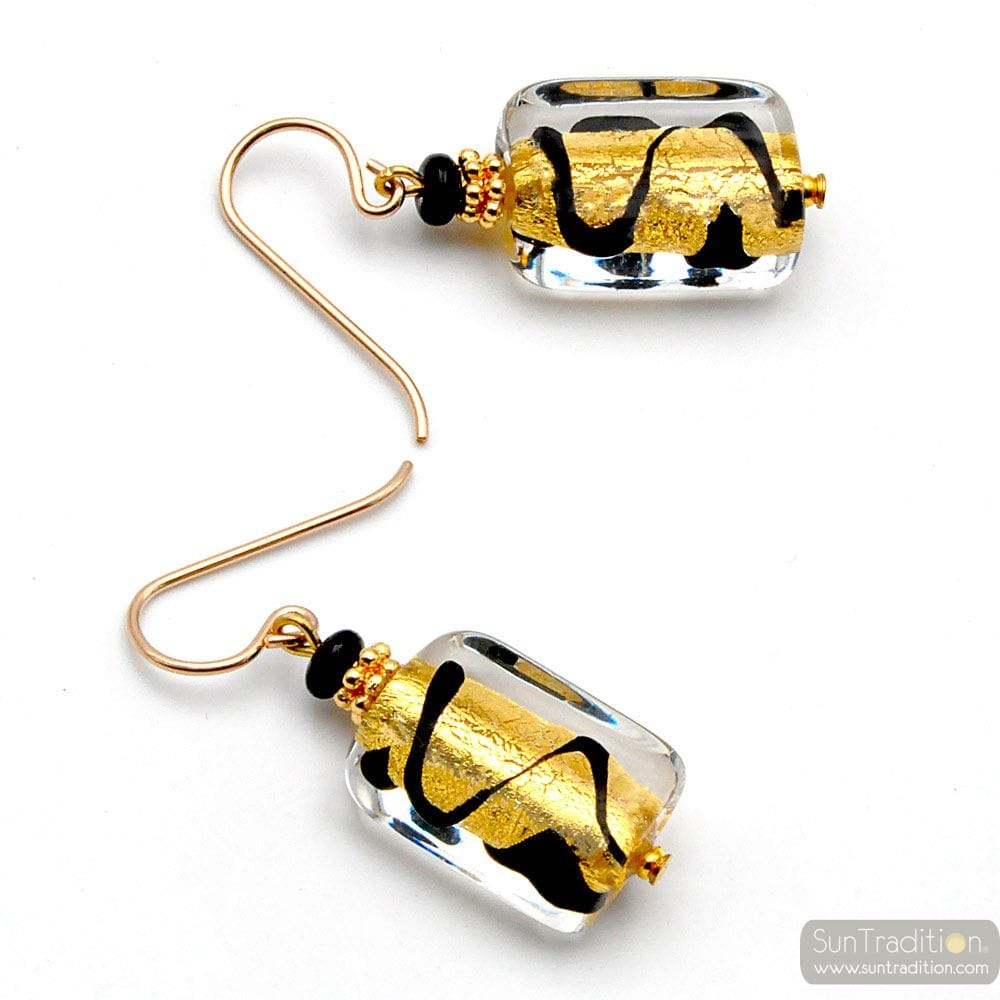 BLACK AND GOLD GENUINE MURANO GLASS EARRINGS