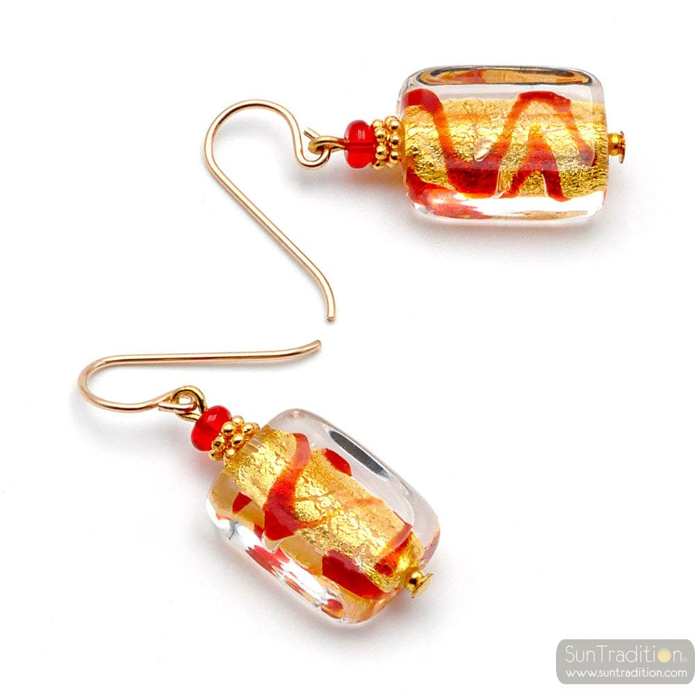 RED AND GOLD GENUINE MURANO GLASS EARRINGS