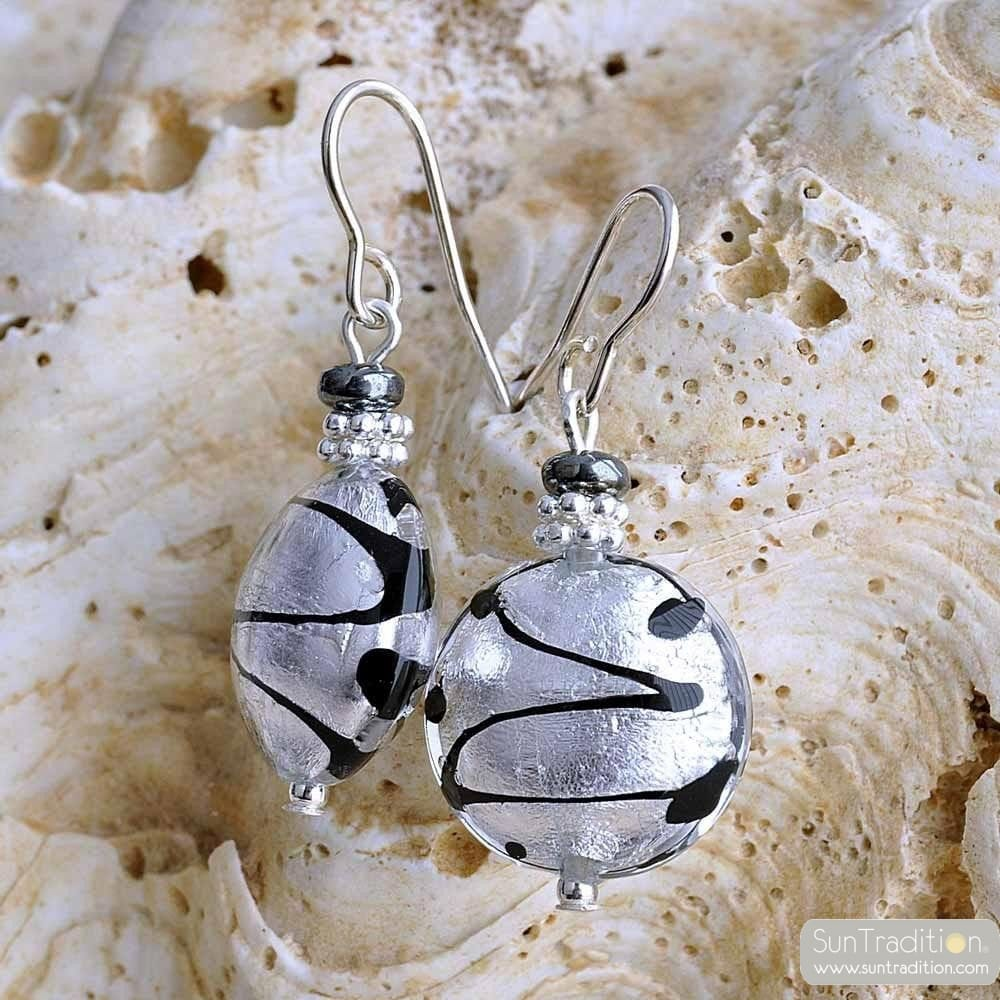 silver murano glass jewelry earrings