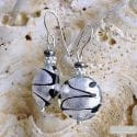 CHARLY SILVER EARRINGS GENUINE MURANO GLASS VENICE
