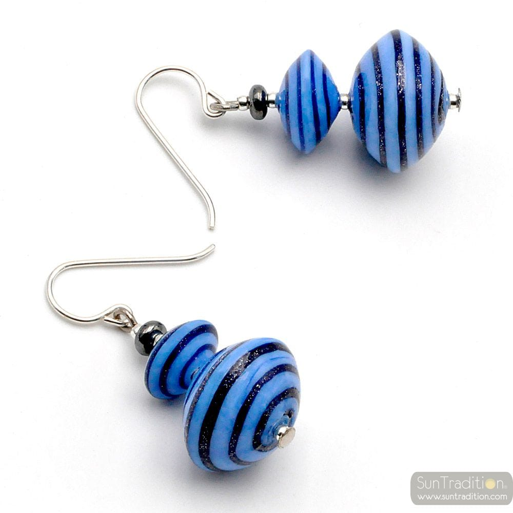 ANELLI DI SATURNO BLUE - BLUE EARRINGS AVENTURINE BLUE & SILVER GENUINE MURANO GLASS OF VENICE