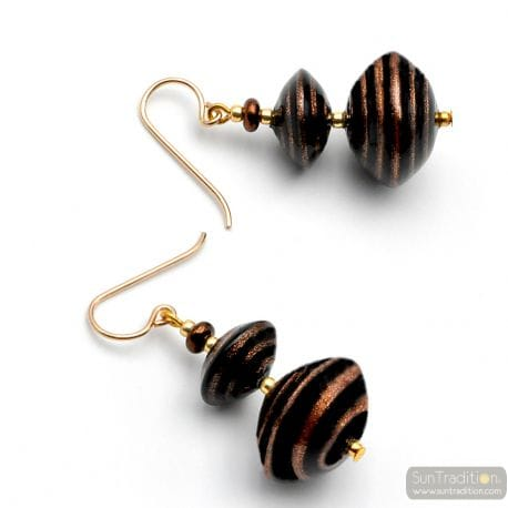 BROWN AVENTURINE GOLD MURANO GLASS EARRINGS OF VENICE