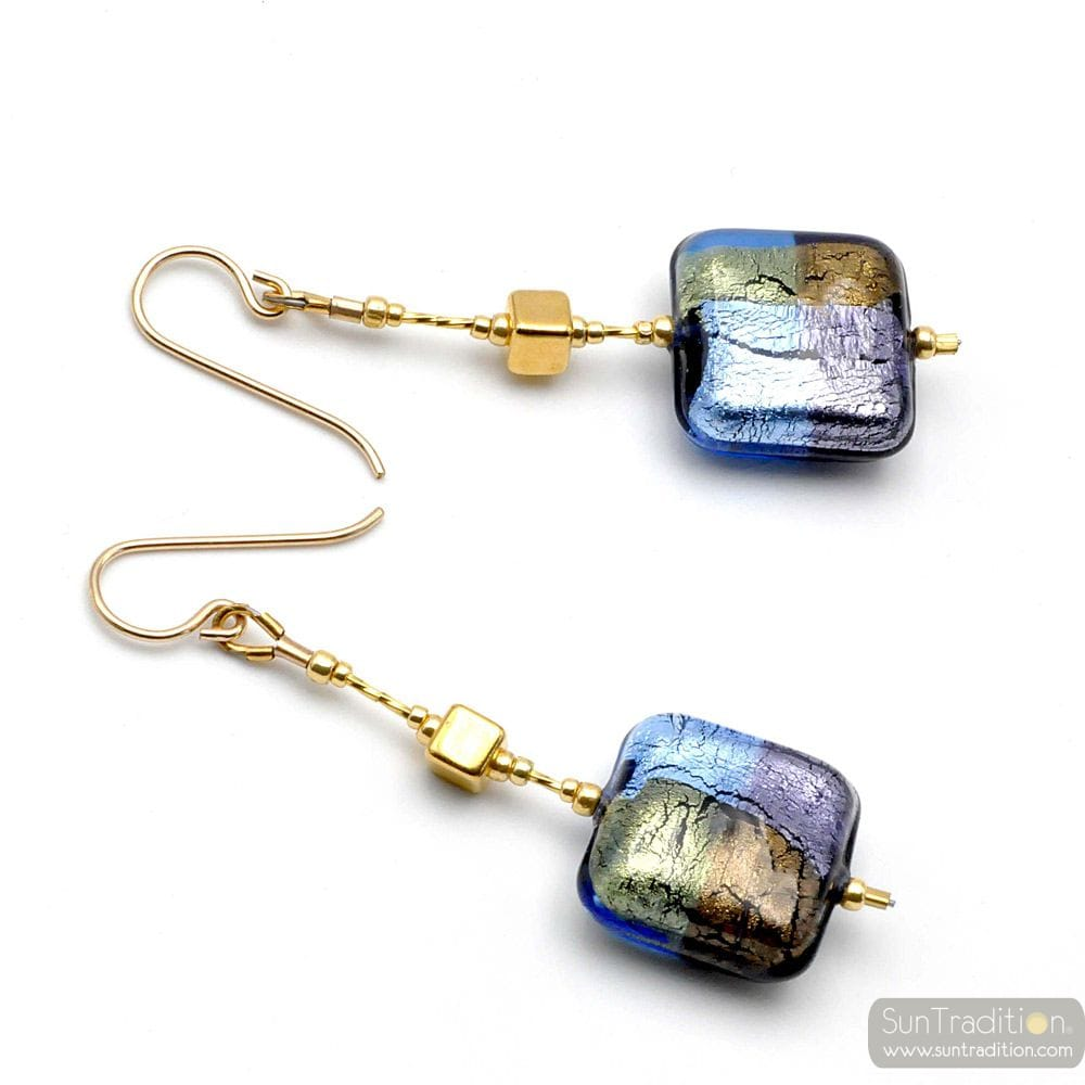 QUADRIFOGLIO BLUE - BLUE MURANO GLASS DROP EARRINGS OF VENICE