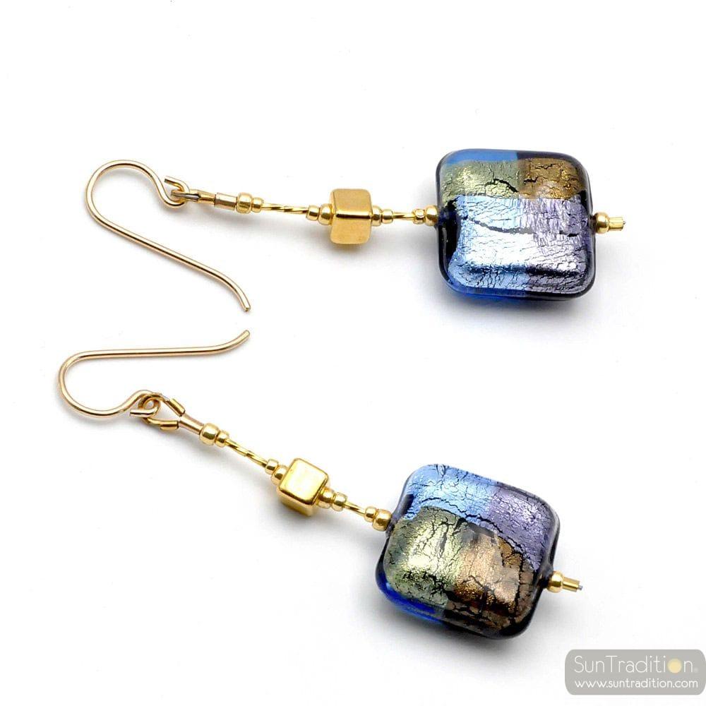 BLUE MURANO GLASS DROP EARRINGS OF VENICE