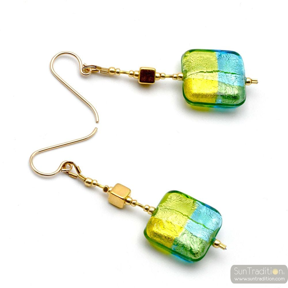 QUADRIFOGLIO GREEN - GREEN MURANO GLASS DROP EARRINGS OF VENICE