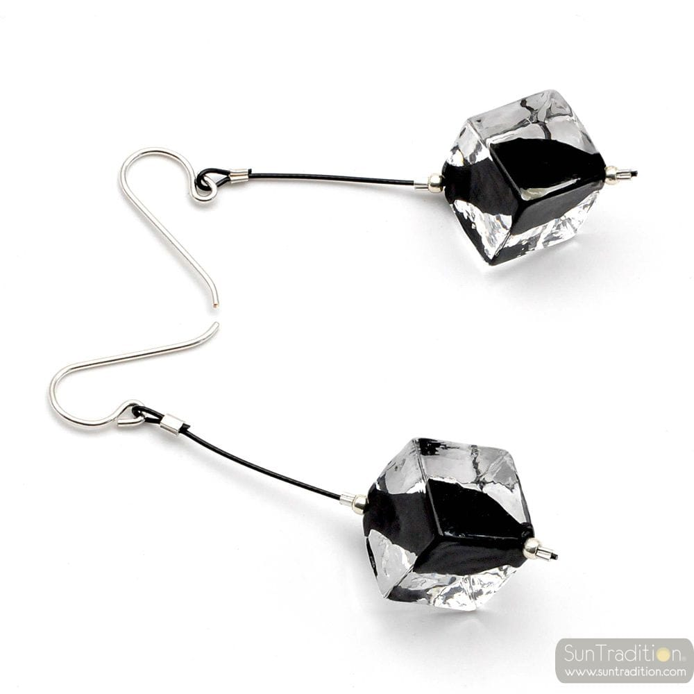 RUMBA PENDANT BLACK - CUBIC PEARLS BLACK MURANO GLASS DROP EARRINGS VENICE