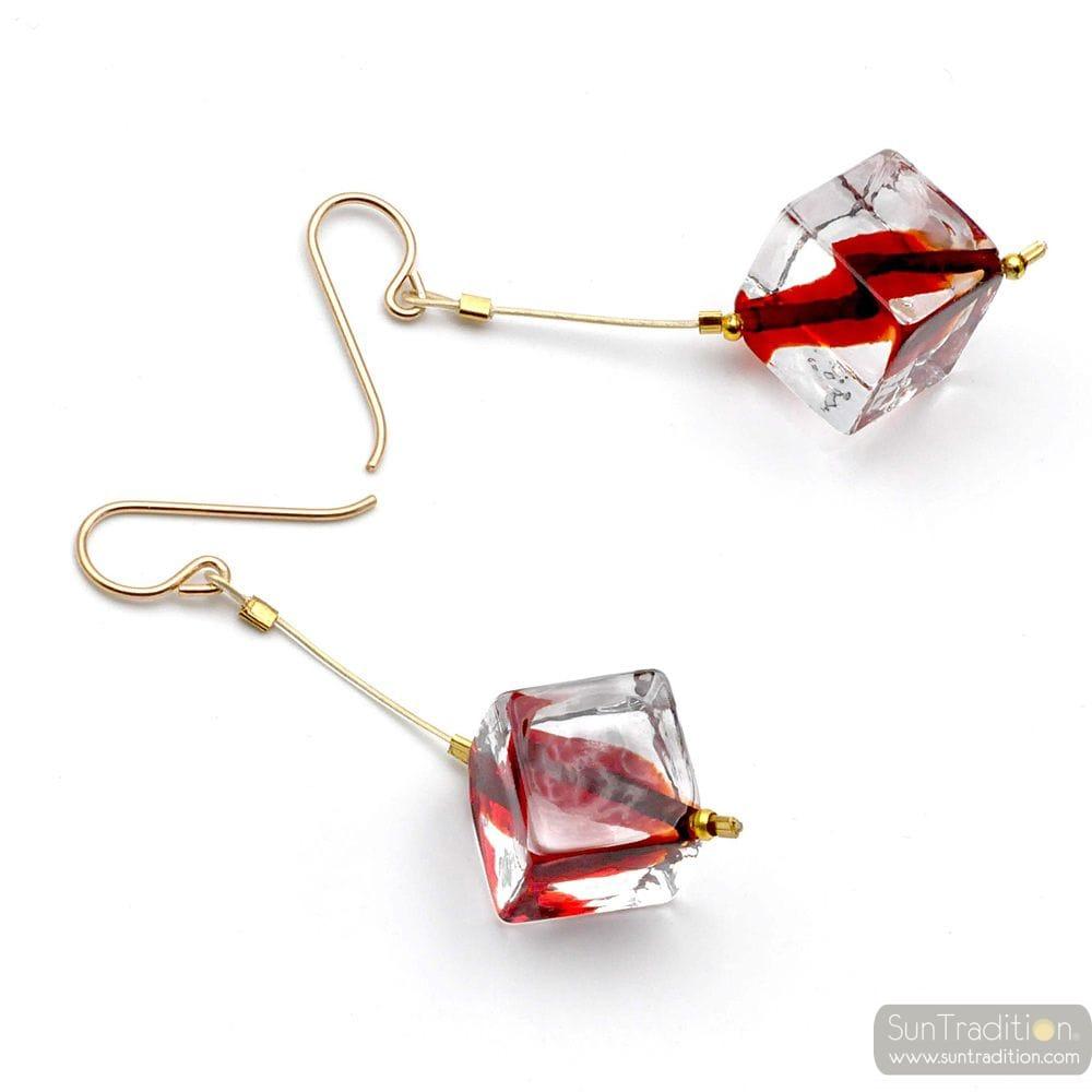 CUBIC PEARLS RED MURANO GLASS DROP EARRINGS VENITIAN GLASS